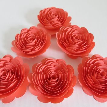 "Coral Rose decorations, 6 big 3"" salmon paper flowers, gorgeous wedding table centerpieces, Bridal shower decor, girl gift idea"