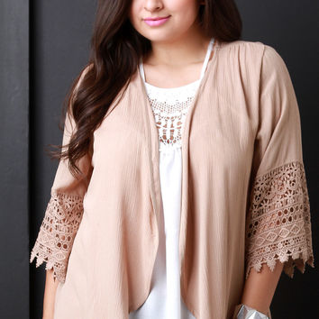Scallop Crochet Sleeve Open Front Cardigan