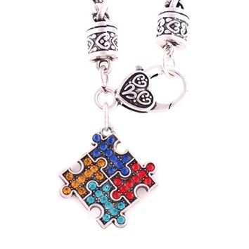 Antique silver plated Autism Hope Multi-Colored Crystal Puzzle Pendant Lobster Claw Bracelet