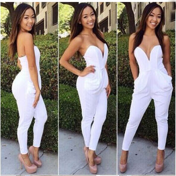 V Neck Sleeveless Bodycon Jumpsuit Romper