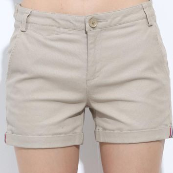Military shorts with zipper fly and folded hem line ~ 4 Colors!