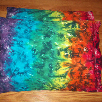 2 Tie Dye Pillow Cases- Set of 2-  tie dye pillows, tie dye bedding, Rainbow Crush pillowcases