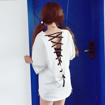 Women Batwing Sleeve T-shirt V Neck Back Hollow Out Lace Up Tie Lolita Punk Goth Gothic Loose Baggy Boyfriend Style Casual New