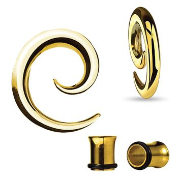 BodyJ4You Gauges Kit Spiral Hollow Light Taper Tunnels Gold Surgical Steel 6G 4mm Body Piercing Jewelry Set 4 Pieces