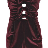 Steph Bow Front Bandeau Velvet Playsuit