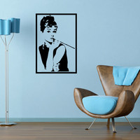 Audrey Hepburn Wall Decal Large framed 17 x 25 Inches