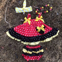 girl clothes baby new minnie swing tops swing outfits with matching necklace and bows