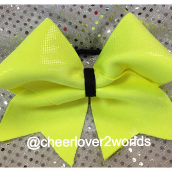 Neon Yellow Cheer Bow