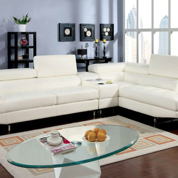 Furniture of america CM6553WH-CS 3 pc kemi ii white bonded leather sectional sofa with center speaker console