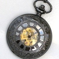 Steampunk ROMAN NUMERALS Pocket Watch Mechanical Chain Steam Punk Glow Face
