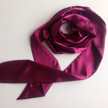 Magenta Long Scarf, Sash for Flower Girl, Purple Long Skinny Scarf, Holiday Gift for Teen, Plum Wedding Sash belt, 100X3 Versatile Bow scarf