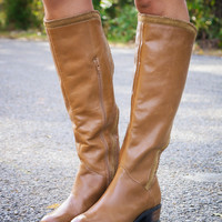 Naughty Monkey Everlasting Love Tan Genuine Leather & Suede Equestrian Boot