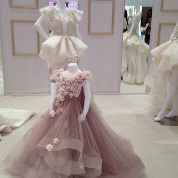 A-Line Flowers Girl Dresses Organza Junior Bridesmaid Gown Hand Made Flowers Pleats Baby Vestidos De Festa E2065
