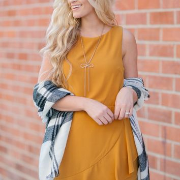 Jenna Mustard Ruffle Dress
