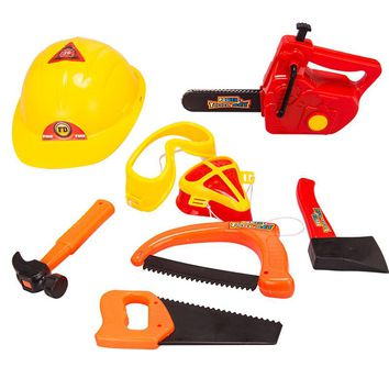 Simulation Engineer Role Play Builder Toy Tool Helmet Hatchet Hammer Saws Axes Repair Tool Pretend Toy  Kids Boys Gift