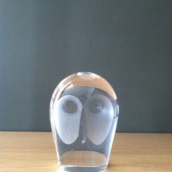Royal Krona Swedish Glass Owl Art Sculpture