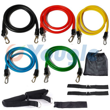 11 Pcs Resistance Bands Set Workout Exercise Pilates Yoga Crossfit Fitness Tubes (Color: Black) = 1933369284
