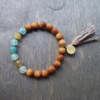 Mala style stretch bracelet, sandal wood and semi precious stones, hand stamped charm, stacking bracelet, Boho hippy style