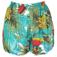 Teal, Red & Olive Parrot Print Shorts | Shorts | Rokit Vintage Clothing