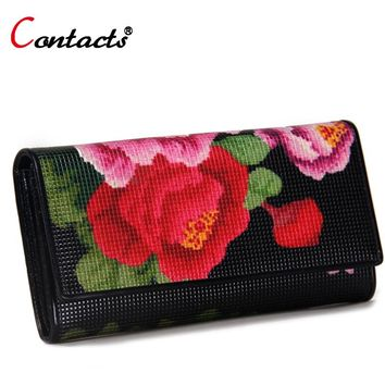CONTACT'S Women wallet Genuine Leather Wallet Female Purse Printing Flowers designer Clutches Phone coins Card Holder Money Bag