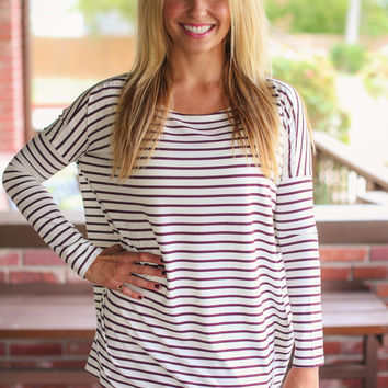 Stripe Piko Top - Maroon and Ivory