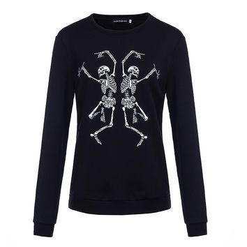 Black Hoodie Women Gothic Skull Print Long Sleeve oversize Pullover Hoodies sweatshirt Autumn fashion Goth funny Hoodie harajuku