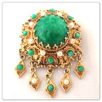 Beautiful Vintage Lisner Faux Malachite Brooch - Faux Pearls - Gold - Signed Statement Brooch for coat - Hollywood - Emerald green gold
