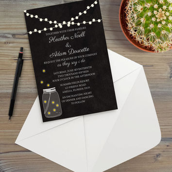 Instant Download - Fireflies Lights Summer Night Shabby Chalkboard Mason Jar Wedding Baby Shower Birthday Event Party Invitation Template