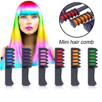 6Pcs/Set Mini Professional Crayons For Hair Color Chalk Hair Dyeing Tool Disposable Personal Salon Use For Hair Dye Comb Hair