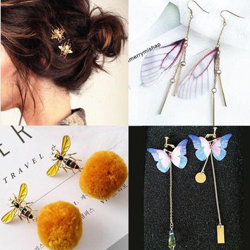DCCKN6V fashion little bee hairpin bee bee s yellow hair ball ear nail butterfly wing earring sweet butterfly wing crystal earrings a pair for four pieces bee hairpin bee earrings butterfly earring wing earring