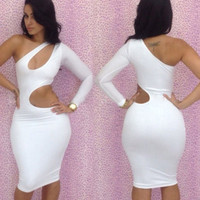 White One Shoulder Sleeve Cut Out Bodycon Midi Dress