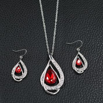 Charm Silver Plated Red Teardrop Crystal Pendant Necklace Earrings Set Women Wedding Jewelry Sets Party Costume Accessories