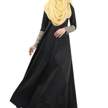 Black Patchwork Muslim Style Cuff Zipper Hooded Long Sleeve Maxi Abaya Dress