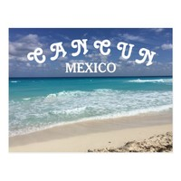 Cancun Mexico Clear Water Caribbean Beach Postcard