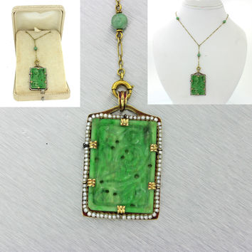 1920s Antique Art Deco 18k Solid Yellow Gold Carved Jade Jadeite Pendant Necklac