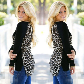 Scoop Leopard Print Long Sleeves Pockets Blouse