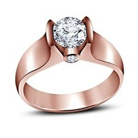 Solitaire Style 14K Rose Gold Over 925 Sterling Silver White CZ Engagement Ring
