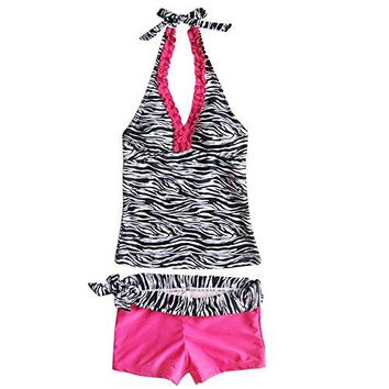 TiaoBug US Girs 2PCS Set Halter Swimwear Beach Bathing Swimsuit Tankini