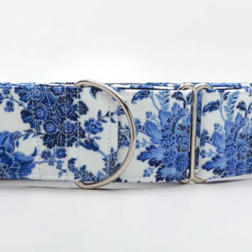 Blue Porcelain Paisley Dog Collar (Martingale, Buckle or Tag)