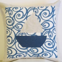 "Pillow Cover 18""-Nautical Blue Sailboat Pattern"