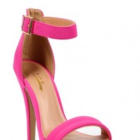 Neon Pink Ankle Strap Heels