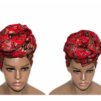Red golden stool African head wraps / African Head wraps/ Reversible / African hair accessory fabric/ African Head scarf/ HT67
