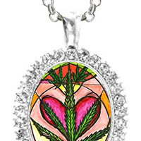 Marijuana Lover Cz Crystal Silver Necklace Pendant
