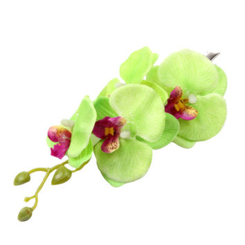 Women Butterfly Orchid Flower Hair Clip Barrette Pin Bridal Wedding Prom Party Hair Decoration NW