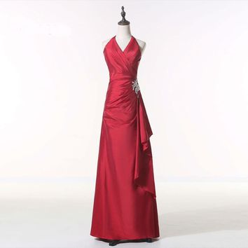 Floor length Prom gown Halter neck Beaded long red carpet evening dresses