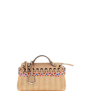 Fendi By the Way Small Floral Straw Satchel Bag, Natural/Multi