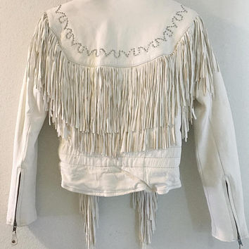 1970s Womens Off White Leather Fringe Moto Jacket / Beige Western World Vintage Jacket / Thinsulate Lined Genuine Leather Boho Festival Coat