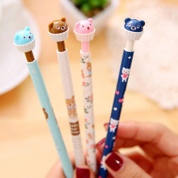 1pcs lot Kawaii Bear Cup Cake design 0.5mm mechanical pencil cute propelling pencil Stationery pencils