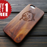 Walnut Wood PC  Husky Dog iPhone 6 6s Protector Case , Engraved iPhone 6 6s Wood Case Cover , Personalized Wood iPhone 6 6s Case , Gift Idea