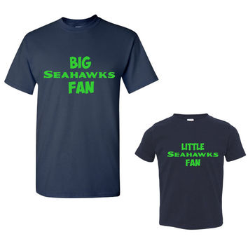 Big Seahawks Fan and Little Seahawks Fan Tshirts. Great 2 Shirt Package. Exclusive Seattle Fans Tshirt.Super Bowl Bound!! Men & Lady Styles.